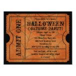 Orange Spider Web Vintage Halloween Ticket Personalized Invite