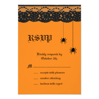 Orange Spiders and Lace RSVP Custom Announcements