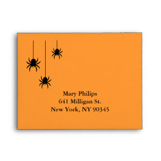 Orange Spiders and Lace RSVP Envelope