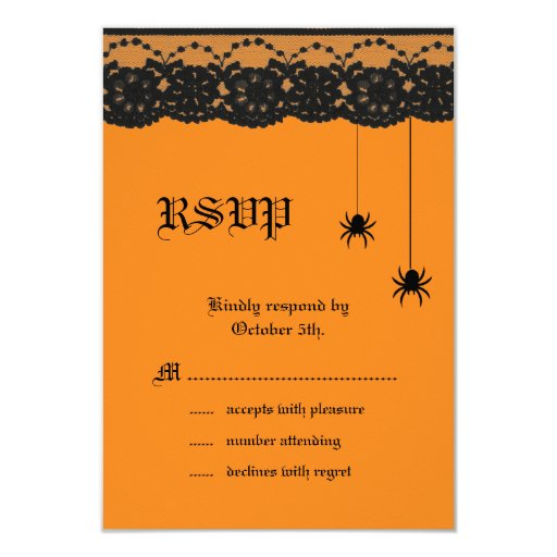 """Orange Spiders and Lace RSVP 3.5"""" X 5"""" Invitation Card"""