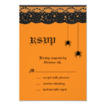 Orange Spiders and Lace RSVP 3.5x5 Paper Invitation Card
