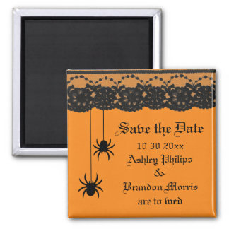 Orange Spiders and Lace Save the Date Magnet