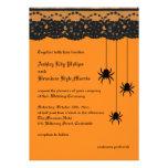 Orange Spiders and Lace Wedding Invitation
