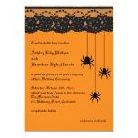 "Orange Spiders and Lace Wedding Invitation 5"" X 7"" Invitation Card"
