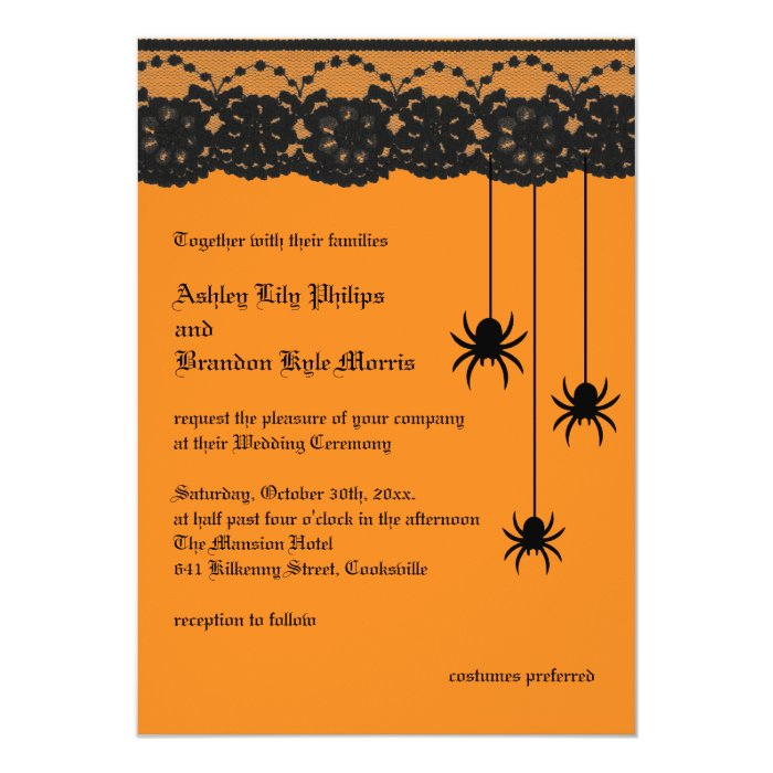 Orange Spiders and Lace Wedding Invitation