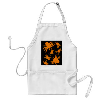 Orange Spiders With Black Background Adult Apron
