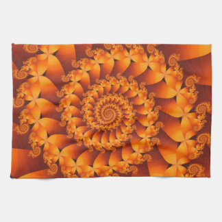 Orange Spiral Fractal Kitchen Towel