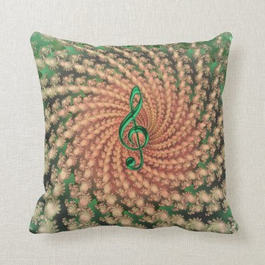 Orange Spiral Fractal with Green Music Clef Pillow