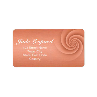 Orange Spiral in brushed metal texture Custom Address Label