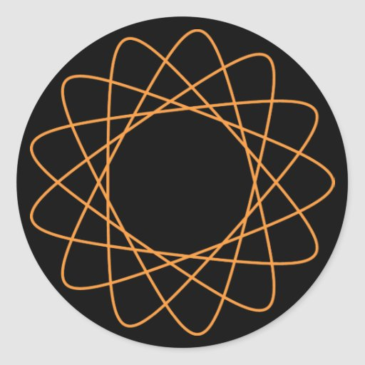 Orange Spirograph Classic Round Sticker