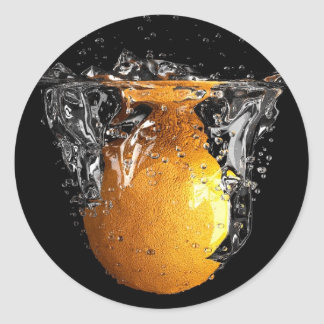 Orange Splash Classic Round Sticker