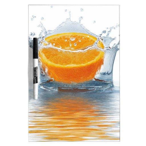 Orange splashing in water dry erase white board