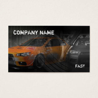 orange sport car in garage business card