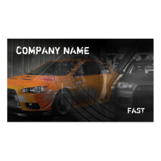 orange sport car in garage Double-Sided standard business cards (Pack of 100)