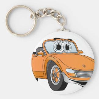 Orange Sports Car Convertible Cartoon Basic Round Button Keychain