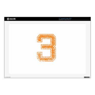 """Orange Sports Jerzee Number 03.png 17"""" Laptop Skins"""