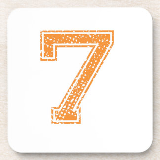 Orange Sports Jerzee Number 07.png Beverage Coaster