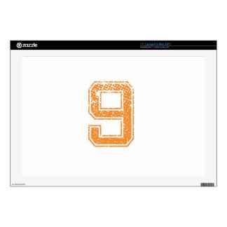 "Orange Sports Jerzee Number 09.png 17"" Laptop Decals"
