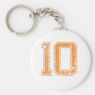Orange Sports Jerzee Number 10.png Basic Round Button Keychain
