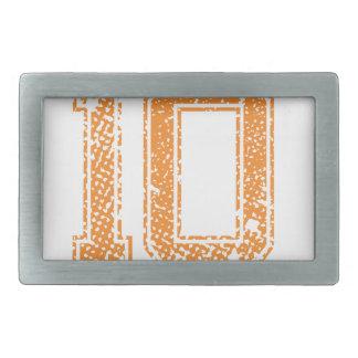 Orange Sports Jerzee Number 10.png Rectangular Belt Buckle
