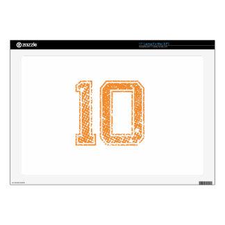 "Orange Sports Jerzee Number 10.png Decals For 17"" Laptops"