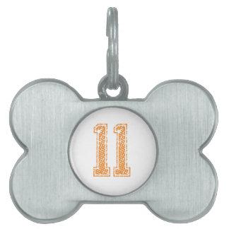 Orange Sports Jerzee Number 11.png Pet ID Tag