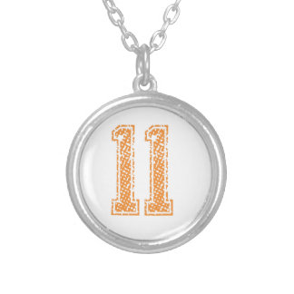 Orange Sports Jerzee Number 11.png Silver Plated Necklace
