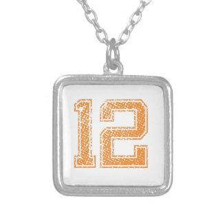 Orange Sports Jerzee Number 12.png Silver Plated Necklace