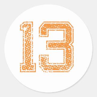 Orange Sports Jerzee Number 13.png Classic Round Sticker