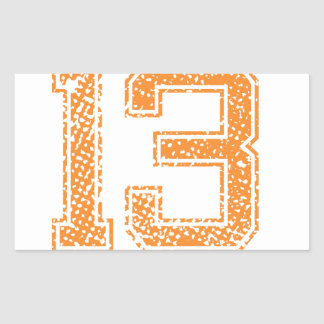Orange Sports Jerzee Number 13.png Rectangular Sticker
