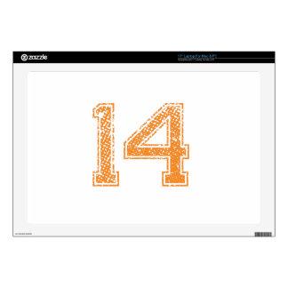 "Orange Sports Jerzee Number 14.png 17"" Laptop Decal"