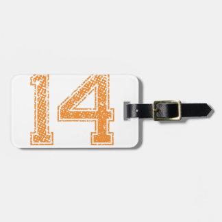 Orange Sports Jerzee Number 14.png Bag Tag