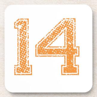 Orange Sports Jerzee Number 14.png Beverage Coaster