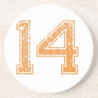Orange Sports Jerzee Number 14.png Coaster