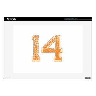 """Orange Sports Jerzee Number 14.png Decal For 15"""" Laptop"""