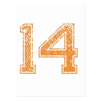 Orange Sports Jerzee Number 14.png Postcard