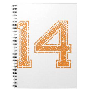 Orange Sports Jerzee Number 14.png Spiral Notebook