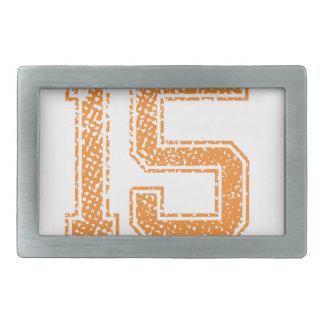 Orange Sports Jerzee Number 15.png Belt Buckle