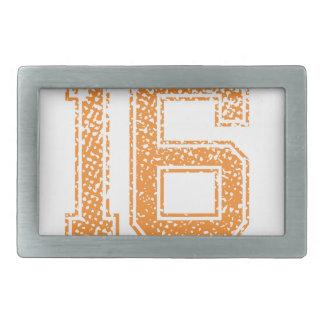 Orange Sports Jerzee Number 16.png Rectangular Belt Buckle