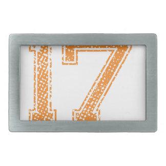 Orange Sports Jerzee Number 17.png Belt Buckle