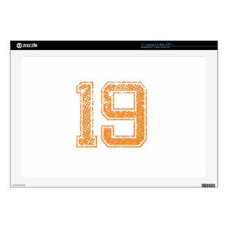 "Orange Sports Jerzee Number 19.png 17"" Laptop Skin"