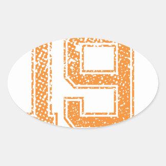 Orange Sports Jerzee Number 19.png Oval Sticker
