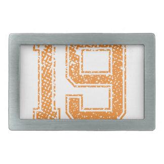Orange Sports Jerzee Number 19.png Rectangular Belt Buckle