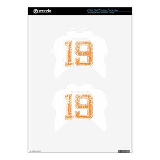 Orange Sports Jerzee Number 19.png Xbox 360 Controller Skin