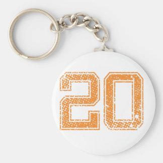 Orange Sports Jerzee Number 20.png Keychain