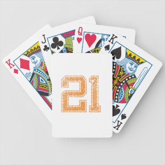 Orange Sports Jerzee Number 21.png Bicycle Playing Cards