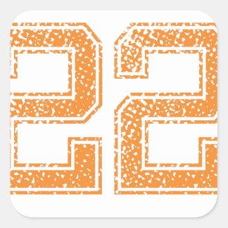 Orange Sports Jerzee Number 22.png Square Sticker