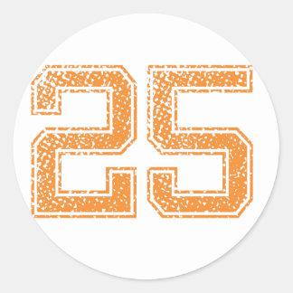 Orange Sports Jerzee Number 25.png Classic Round Sticker