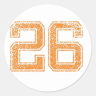 Orange Sports Jerzee Number 26.png Classic Round Sticker