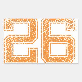 Orange Sports Jerzee Number 26.png Rectangular Sticker